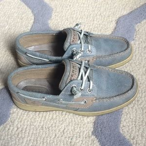Sperry Top-Spider Blue And Silver Boat Shoe